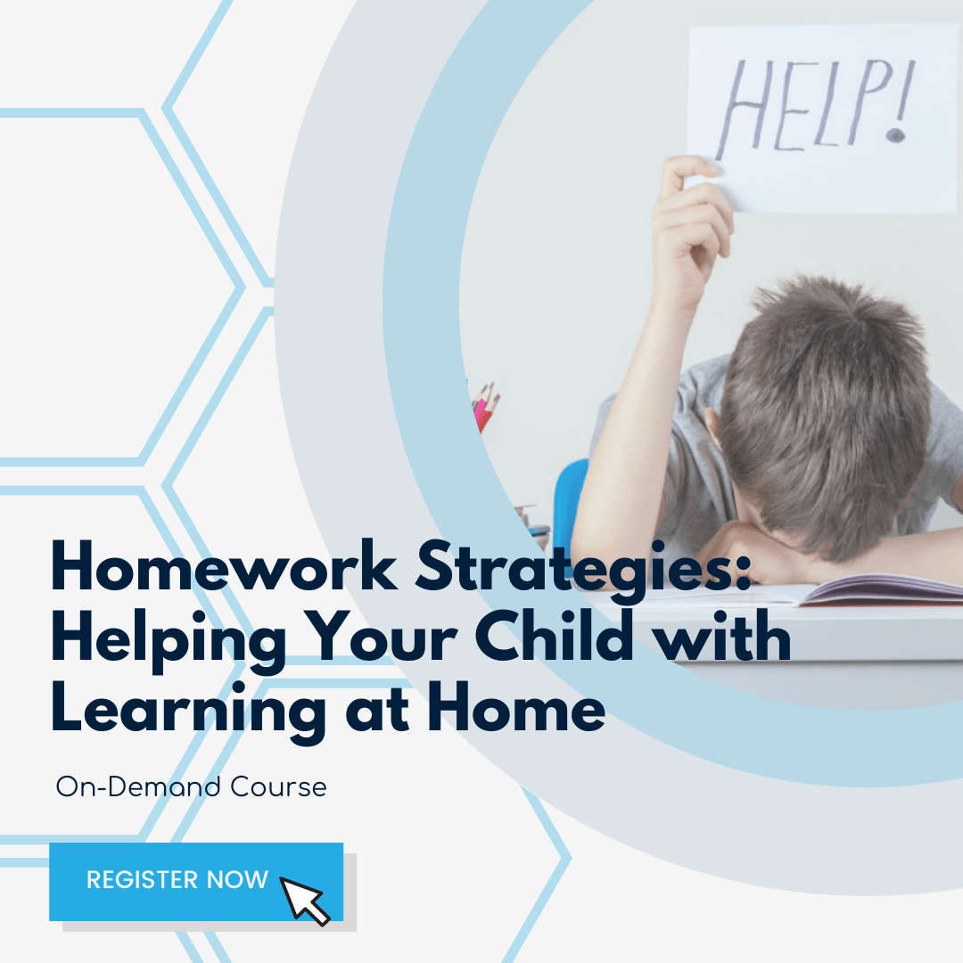 """Promotion for Homework Strategies - a child holds up a sign reading """"Help!"""" while burying his head in a book."""